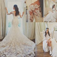 Wholesale Long Mermaid Wedding Dresses With Sleeve Court Train Cheap Price Formal Women Romantic White Color Trumpet Wedding Bridal Gown