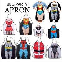 Wholesale 150P BBA4154 style superhero apron superman batman aprons spiderman flash hulk apron Funny Cooking Anime Cartoon Aprons party gifts