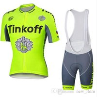 Wholesale New Item Yellow Tinkoff Saxo Cycling Jersey Set Fluo Yellow Short Sleeve With Padded Bib Trousers Ultra Breathable Bike Wear XS XL