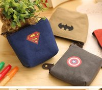 cartoon bags - Hot Boy Captain America Purse cartoon wallet Batman Super hero party supplies Kids boy bag coin bags key bags Design