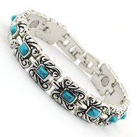 Wholesale Wollet Jewelry mm tibetan Silver blue turquoise magnetic bracelet for women