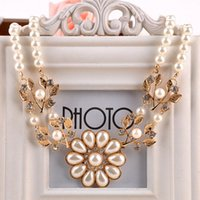 pearl choker necklace - Vintage Elegant Charm Necklace Women Ladies Pearl Necklace Chain Crystal Rhinestone Flower Choker Pendant Necklace Y47 MPJ019 M5