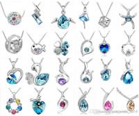 Wholesale Crystal Fashion Jewelry Wholesaler - Fashion jewelry High quality Austrian crystal CZ Diamonds pendant necklace women jewelry 24pcs Optional style Free shipping