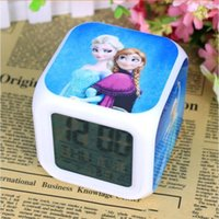 Wholesale Frozen Night Colorful Glowing Clock Hot frozen Retail New LED Colors Change Digital Alarm Clock Anna and Elsa Thermometer BO6972