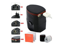Wholesale 2553 World Travel Adapter USB Universal Travel AC Power Adapter Adaptor Plug Adapter dual usb Charger USB Charger