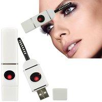 Al por mayor-eléctrica rizador de pestañas USB plástico pestañas climatizada rizador de Sensor de belleza Maquillaje Herramientas recargable Blanca ABS + Cerámica 2015NEW