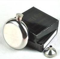 liquor - 5oz Stainless Steel Hip Flask Whiskey Liquor Wine Bottle Pocket Containers Russian Flagon Flasks for Travel Outdoor Round Mirror Retail Box