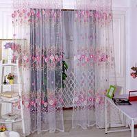 beautiful screen doors - New and beautiful Sunflower Voile Door Window Screening Curtains Pastoral Sunflower Curtains