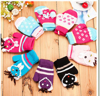Wholesale Mix Color Children Lovely Warm Full Finger Gloves Winter Kid Baby Knitting Mittens M1718