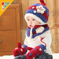 Wholesale Hot Sale New Cute Baby Winter Knitted Scarf Warm Cap months Boy Lovely Beanie Children Hats Scarf golves Set Children