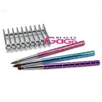 acrylic nail kit supplies - BeautyGaGa Pro Supply Nail art Tool Kit Kolinsky Nylon Hair Acrylic Nail Brushes Electroplate Nail Brush Holder