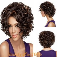 Wholesale Fashionable Women s Glueless Natural Short Curly Hair Wig Heat Resistant Fiber Wig Deep Short Hair Wig for African American