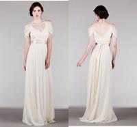 Cheap Elegant Chiffon Grecian Style Wedding Dresses With Ribbon Sashes Spaghetti Straps Ruched Bridal Dresses Floor Length Summer Beach Wedding