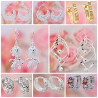 Wholesale Mix Style Sterling Silver Charming Women Girls Crystal Dangle Earrings Fashion Jewelry Best Gift Pairs SF