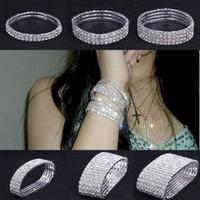 Wholesale Women Girl Rhinestone Crystal Bracelets Elastic Stretch Wedding Bridal Jewelry Bangle Hand Chain Style Choose ZAU