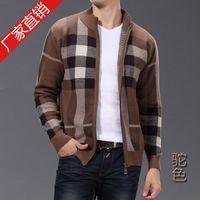 Cheap Fashion Knitted Sweaters Outerwear Yarn Wool Cardigans Warm Winter Dress Collar zipper cashmere knitted cardigan
