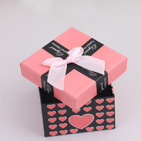 Wholesale Exquisite fashion watch paper gift box simple bow ribbon pattern of love watch box packaging box