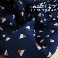 Wholesale Clothing DIY fabric dark blue bottom cartoon triangle geometric patterns chiffon skirt Korean velvet fabric impervious