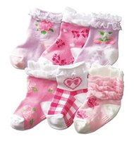 beautiful pairs - Baby Girl Non skid Flower Stripe Socks Pairs Beautiful Infants to Toddlers Warm Lovely Absorbent Sock