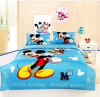 Wholesale mickey mouse twin full queen blue comforter sets bed in a bag for boy children Egyptian cotton woven bedspreads bedding bed set