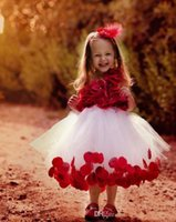 artificial shoulder - Red Artificial Flowers Girl Dresses One Shoulder Tulle Tea length Kids Formal Gowns With Floral Petal A line Princess Pageant Gowns