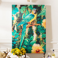 Wholesale Odd ranks yield of American modern home living room entrance mural paintings frameless decorative tropical jungle parrot n J