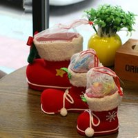 Wholesale Big Christmas Decorations Flocking Boots Socks Creative Gift Box of Candy Decorative Supplies TY1657