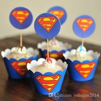 Wholesale Party Decorations Event Cupcake Wrappers Superman Captain America CupCake Toppers Picks Kids Birthday Supplies Party Favors