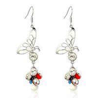 Wholesale colorufl beads butterfly lady s earings xysppfh