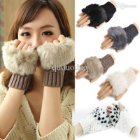Wholesale New Fashion Winter Women Faux Fur Hand Wrist Warmer Knitted Fingerless Gloves