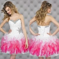 Robes courtes en corset Prix-Cheap Homecoming Robes Little Ball Gowns Robes courtes de demoiselle d'honneur Sweetheart Corset Hot Selling Party Dresses with Rhinestones