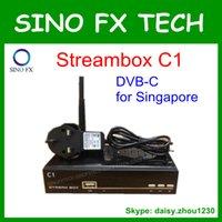 al por mayor dvb-c receiver-receptor de TV por cable de Singapur DVB-C de la caja superior caja de la TV Streambox C1 StarHub soporta IPTV CC CAM Newcam MGCAM XCAM OSCAM mayor fábrica