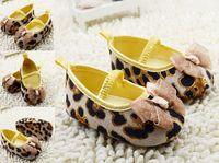 Cheap High-grade leopard baby shoes!brown toddler shoes,lace bow princess single shoes!charm children shoes,soft girls floor shoes.6pairs 12 pcs.C