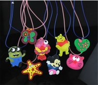 Wholesale Kids LED Necklace Cute Flashing Necklace Children Funny Cartoon Plastic Led Flash Necklaces Best Gift for Kids Intelligence Toys G0159