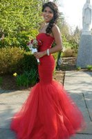 beautiful prom dresses - Beautiful strapless mermaid style prom dresses red puffy tulle backless special occasion formal dress prom vestido de baile