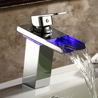 Wholesale No Need Battery Water Powered Chrome Brass LED Waterfall Faucet Basin Mixer Bathroom Tap