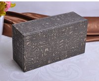Wholesale wooden struction Egyptian grey rectangle leather tissue box holder napkin box toilet paper holder dispenser case home A