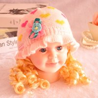 Wholesale 4 Color Christmas New Born Baby Boys Girls Kufi Hats with Lace Flower Heart Kids Winter Crochet Earflaps Caps Thicken Cotton Warm K2862