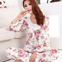 ladies pajamas - Long sleeved Ladies Pajamas Sets Spring Autumn Knit Cotton Rose Floral Flower Lovely Pyjamas Female Women Pajamas
