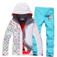 Wholesale Gsou snow Women Ski Suit sets Waterproof Windproof Breathable thermal winter Snowboard Ladies Letters Jackets Bin Pants