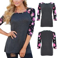 cotton polyester shirts - New Arrivals Women s Ladies T Shirt Blouse Tops Cotton Polyester Print Crew Neck Sleeve Loose Casual Fashion S XL ED14