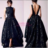 arabic holidays - Hi Lo Black Lace Evening Dresses with Vintage Pockets For Special Occasion Cheap Casual Formal Holiday Arabic African Prom Party Gowns