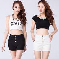 Pockets high waist jeans - 2015 New Fashion women s jeans Summer High Waist Stretch Denim Shorts Slim Korean Casual women Jeans Shorts Hot Plus Size