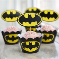 Wholesale 12pcs set Superman Batman paper cupcake wrappers shower boy decorations for kids birthday party cake cup picks toppers Frozen A980
