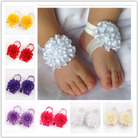 Wholesale Retail Newborn Toddler flower barefoot sandals baby satin flower footwear for Photography props color pick Drop shipping