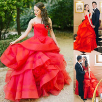 Wholesale 2016 Beauty piping Backless Strapless Floor Length Red Wedding Dresses Sleeveless Sweep Train Satin Bridal Gowns