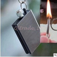 Wholesale 1000pcs CCA3225 High Quality Waterproof Outdoor Camping Standing Flints Match Metal Striker Lighter With Keychain Survival Silver Matches