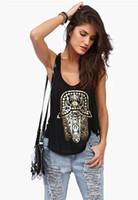Wholesale 2015 Fashion Hamsa Hand of Fatima Foil Stamping T Shirt Women Plus Size Camisetas Femininas Women Tanks Tops Roupas Femininas