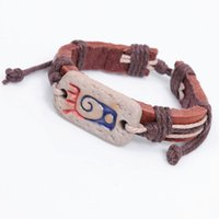 abstract factory pattern - Factory Totem tribal style bracelet genuine leather bracelet hieroglyphs abstract pattern Valentine s Day Gifts