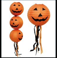 Wholesale Halloween Decorative Items Terror Tricky Arrangement Jack Lantern Belt To Be Pumpkin Paper Lanterns Festive Atmosphere LZT15